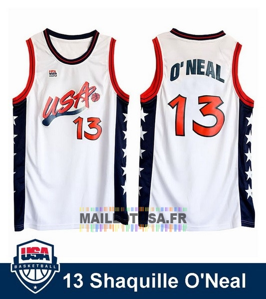 Maillot NBA Pas Cher - Maillot NBA 1996 USA Shaquille O'neal NO.13 Blanc