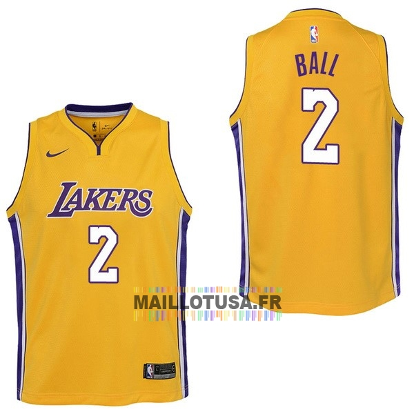 Maillot NBA Pas Cher - Maillot NBA Enfant Los Angeles Lakers NO.2 Lonzo Ball Jaune Icon