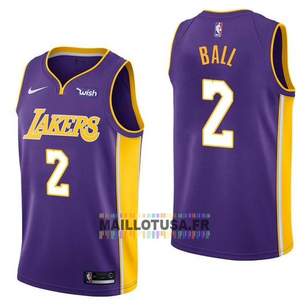 Maillot NBA Pas Cher - Maillot NBA Enfant Los Angeles Lakers NO.2 Lonzo Ball Pourpre