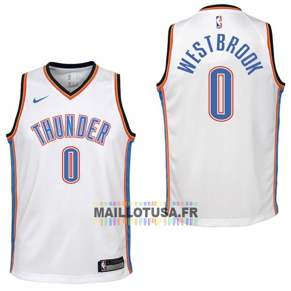 Maillot NBA Pas Cher - Maillot NBA Enfant Oklahoma City Thunder NO.0 Russell Westbrook Blanc Association