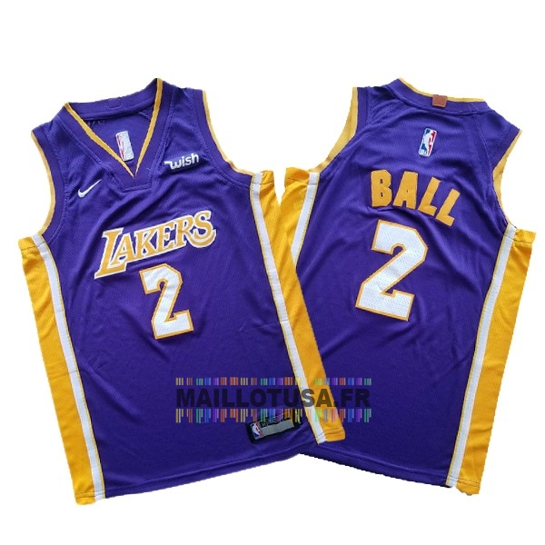 Maillot NBA Pas Cher - Maillot NBA Ensemble Complet Enfant Los Angeles Lakers NO.2 Lonzo Ball Pourpre