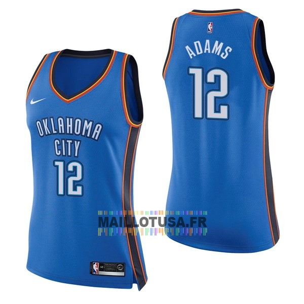 Maillot NBA Pas Cher - Maillot NBA Femme Oklahoma City Thunder NO.12 Steven Adams Bleu Icon