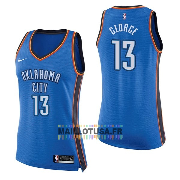 Maillot NBA Pas Cher - Maillot NBA Femme Oklahoma City Thunder NO.13 Paul George Bleu Icon