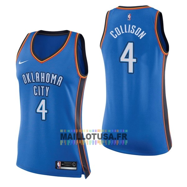 Maillot NBA Pas Cher - Maillot NBA Femme Oklahoma City Thunder NO.4 Nick Collison Bleu Icon