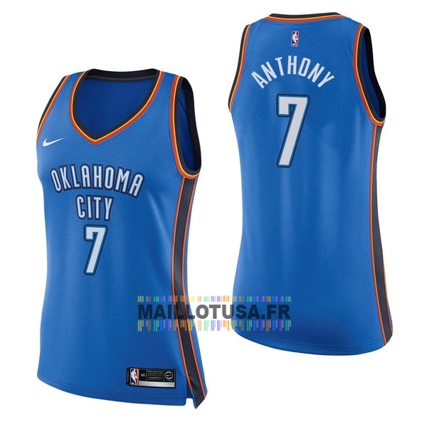 Maillot NBA Pas Cher - Maillot NBA Femme Oklahoma City Thunder NO.7 Carmelo Anthony Bleu Icon