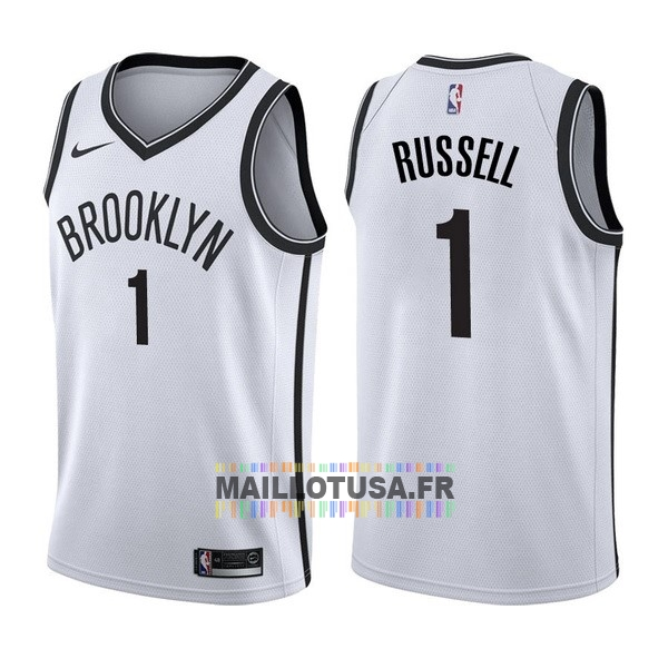 Maillot NBA Pas Cher - Maillot NBA Nike Brooklyn Nets NO.1 D'Angelo Russell Blanc Association