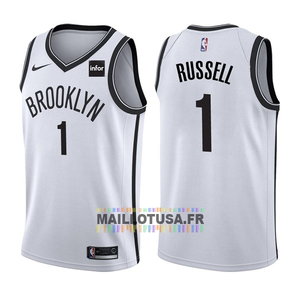 Maillot NBA Pas Cher - Maillot NBA Nike Brooklyn Nets NO.1 D'Angelo Russell Blanc