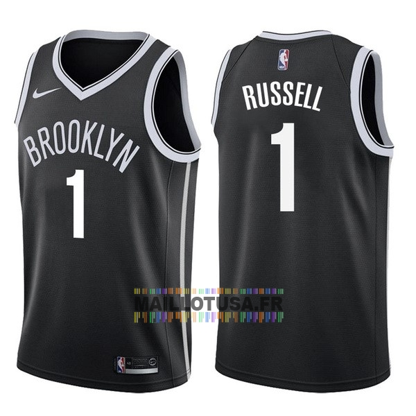 Maillot NBA Pas Cher - Maillot NBA Nike Brooklyn Nets NO.1 D'Angelo Russell Noir Icon