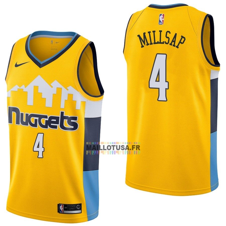 Maillot NBA Pas Cher - Maillot NBA Nike Denver Nuggets NO.4 Paul Millsap Jaune Statement