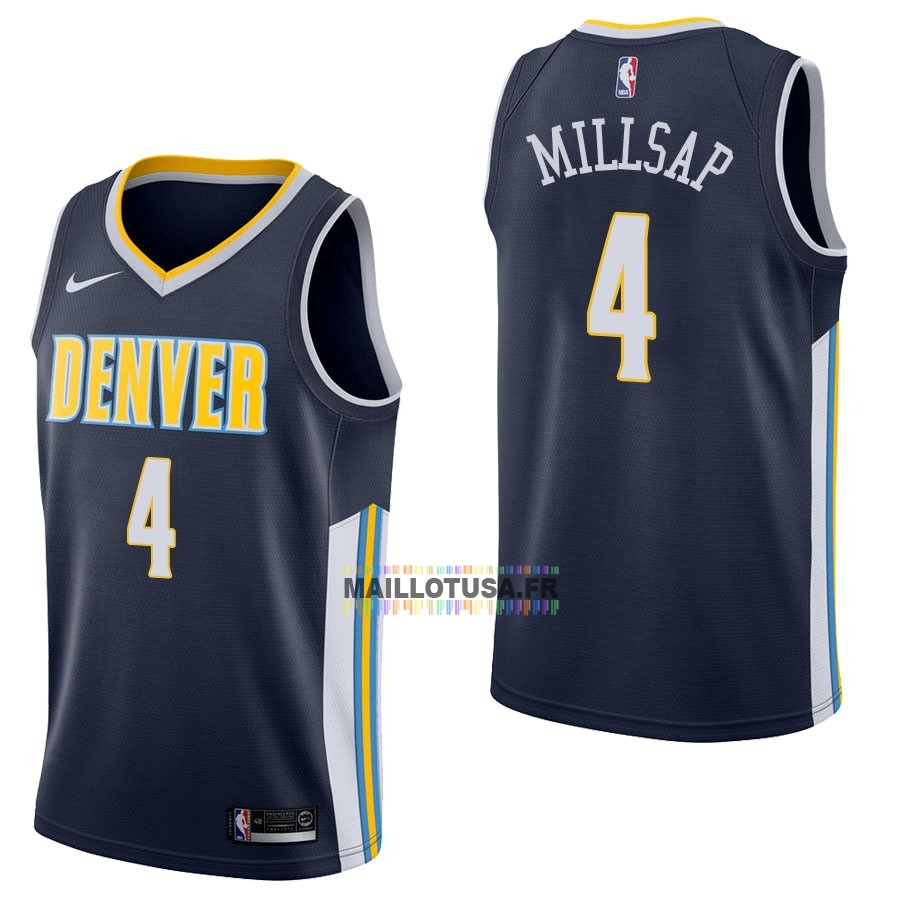 Maillot NBA Pas Cher - Maillot NBA Nike Denver Nuggets NO.4 Paul Millsap Marine Icon