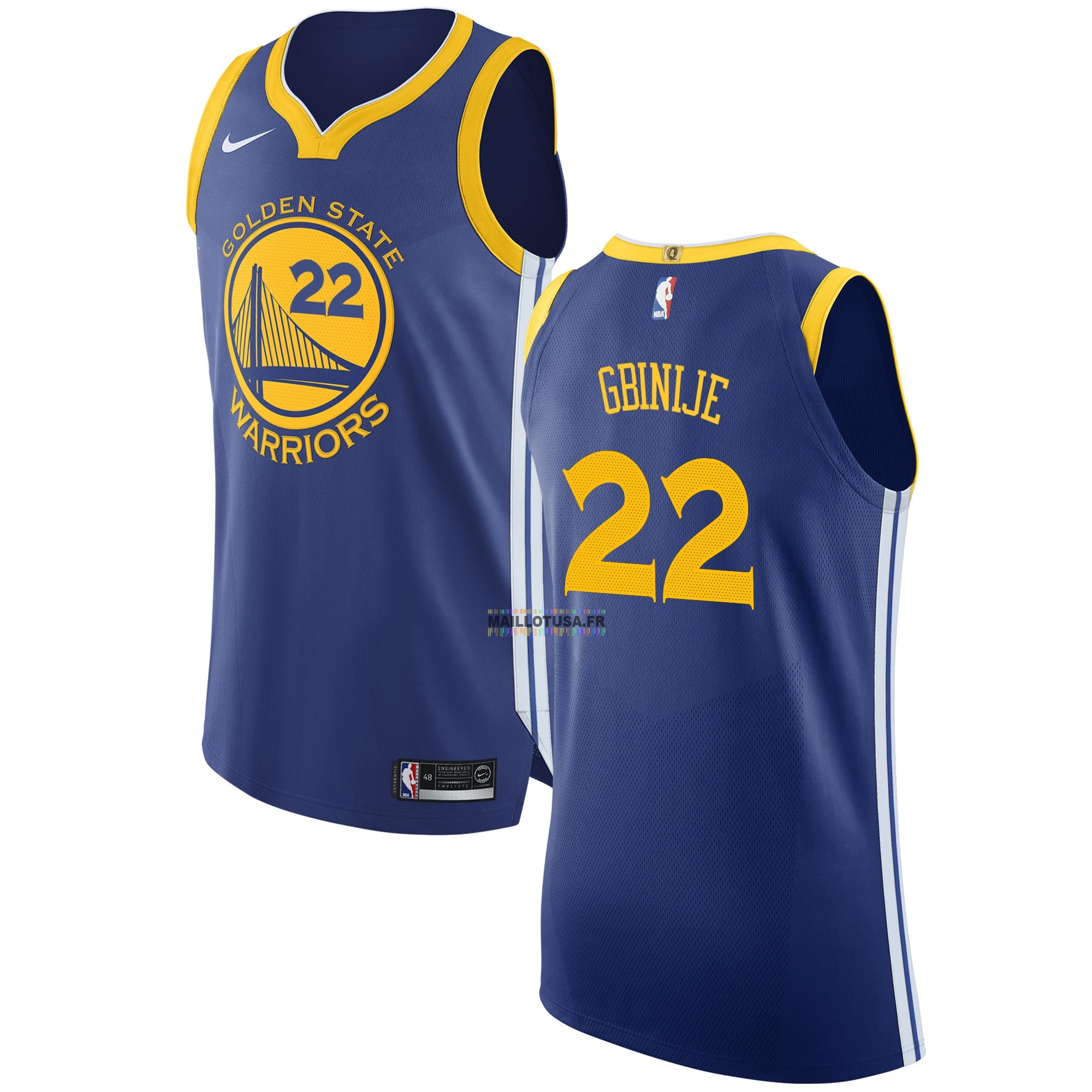 Maillot NBA Pas Cher - Maillot NBA Nike Golden State Warriors NO.22 Michael Gbinije Bleu Icon