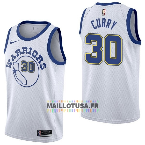 Maillot NBA Pas Cher - Maillot NBA Nike Golden State Warriors NO.30 Stephen Curry Nike Retro Blanc
