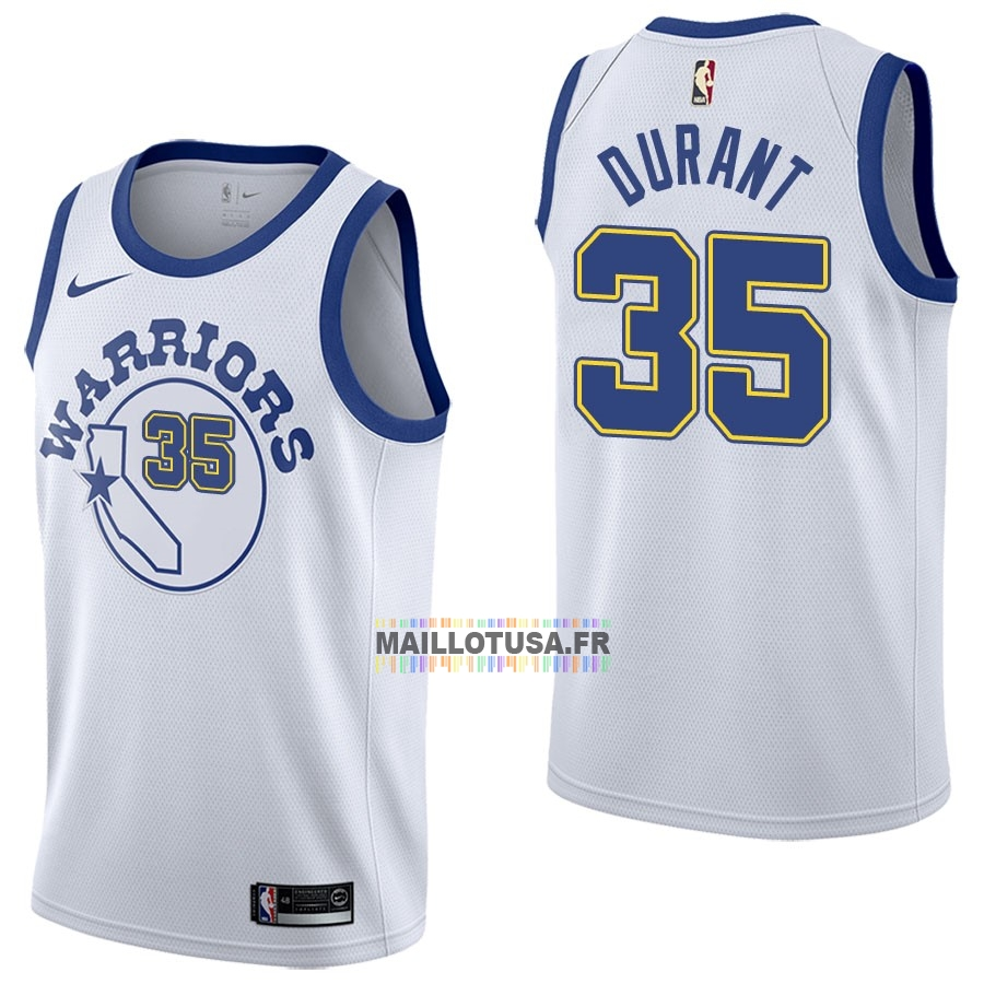 Maillot NBA Pas Cher - Maillot NBA Nike Golden State Warriors NO.35 Kevin Durant Nike Retro Blanc