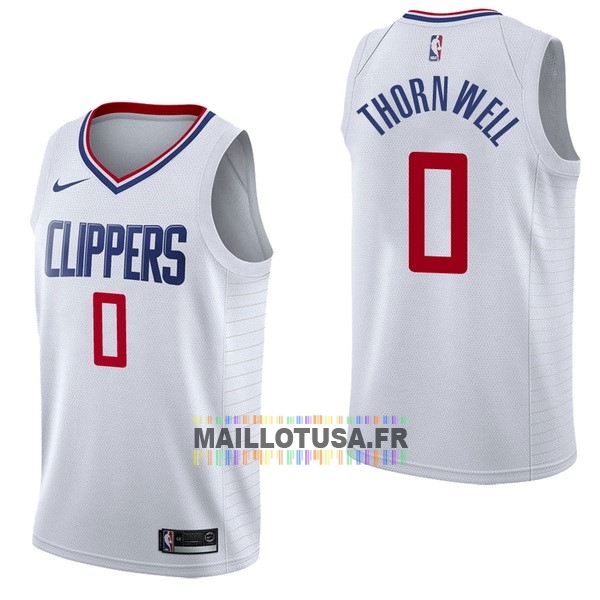 Maillot NBA Pas Cher - Maillot NBA Nike Los Angeles Clippers NO.0 Sindarius Thornwell Blanc Association