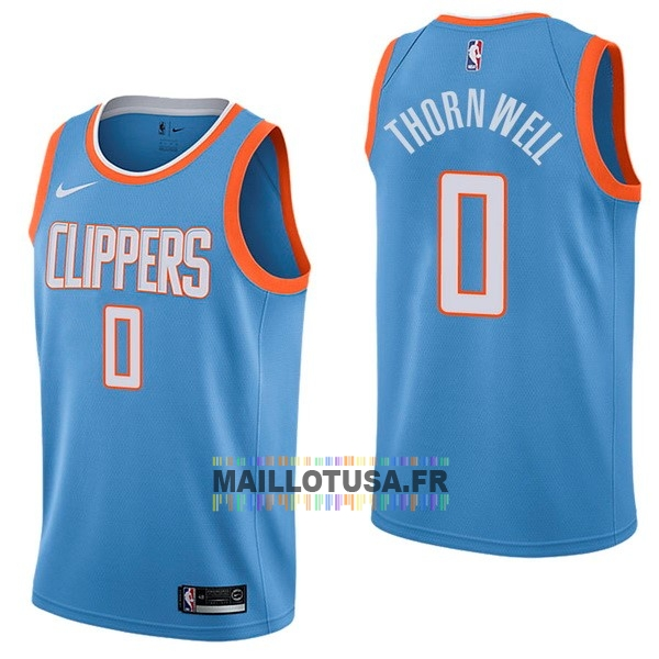 Maillot NBA Pas Cher - Maillot NBA Nike Los Angeles Clippers NO.0 Sindarius Thornwell Nike Bleu Ville