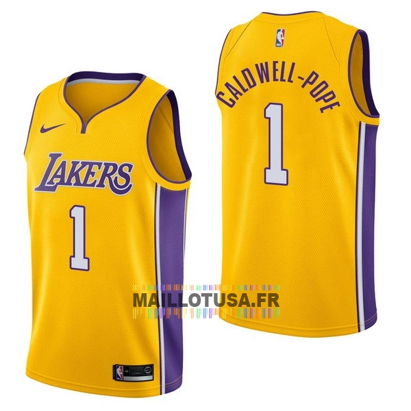 Maillot NBA Pas Cher - Maillot NBA Nike Los Angeles Lakers NO.1 Kentavious Caldwell Pope Jaune Icon