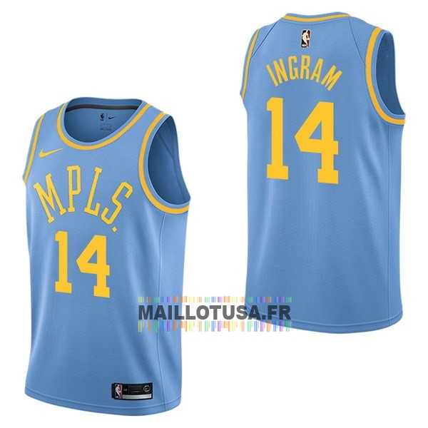 Maillot NBA Pas Cher - Maillot NBA Nike Los Angeles Lakers NO.14 Brandon Ingram Retro Bleu