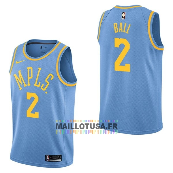 Maillot NBA Pas Cher - Maillot NBA Nike Los Angeles Lakers NO.2 Lonzo Ball Retro Bleu