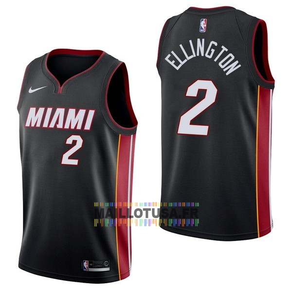 Maillot NBA Pas Cher - Maillot NBA Nike Miami Heat NO.2 Wayne Ellington Noir Icon