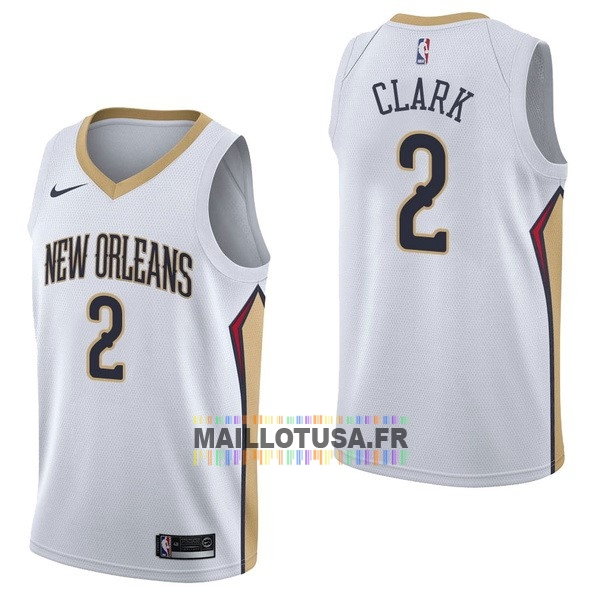 Maillot NBA Pas Cher - Maillot NBA Nike New Orleans Pelicans NO.2 Ian Clark Blanc Association