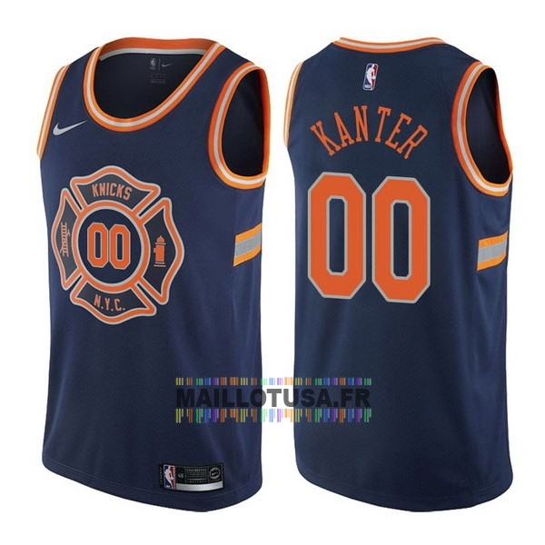 Maillot NBA Pas Cher - Maillot NBA Nike New York Knicks NO.0 Enes Kanter Nike Bleu Ville