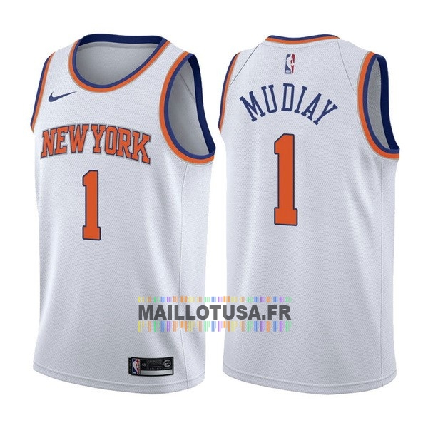Maillot NBA Pas Cher - Maillot NBA Nike New York Knicks NO.1 Emmanuel Mudiay Blanc Association