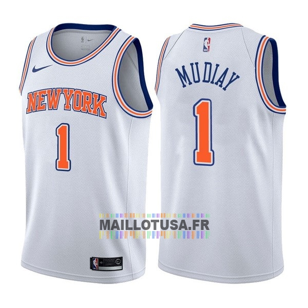 Maillot NBA Pas Cher - Maillot NBA Nike New York Knicks NO.1 Emmanuel Mudiay Blanc Statement