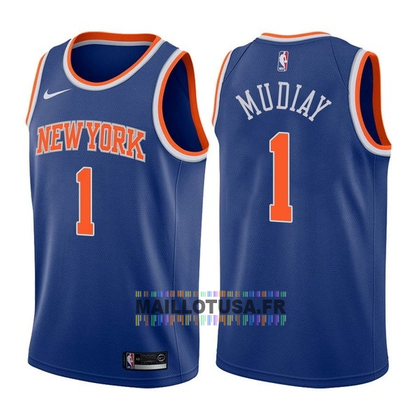 Maillot NBA Pas Cher - Maillot NBA Nike New York Knicks NO.1 Emmanuel Mudiay Bleu Icon