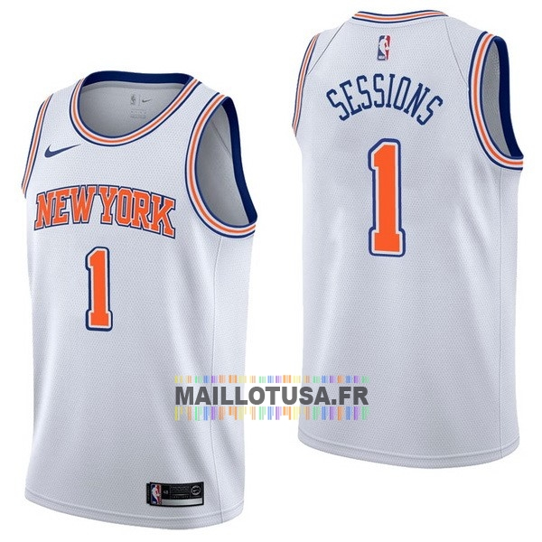 Maillot NBA Pas Cher - Maillot NBA Nike New York Knicks NO.1 Ramon Sessions Blanc Statement