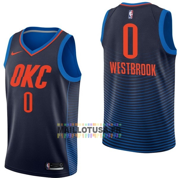 Maillot NBA Pas Cher - Maillot NBA Nike Oklahoma City Thunder NO.0 Russell Westbrook Marine Statement