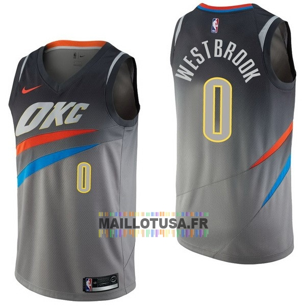 Maillot NBA Pas Cher - Maillot NBA Nike Oklahoma City Thunder NO.0 Russell Westbrook Nike Gris Ville