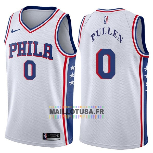 Maillot NBA Pas Cher - Maillot NBA Nike Philadelphia Sixers NO.0 Jacob Pullen Blanc Association