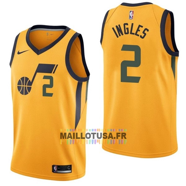 Maillot NBA Pas Cher - Maillot NBA Nike Utah Jazz NO.2 Joe Ingles Jaune Statement