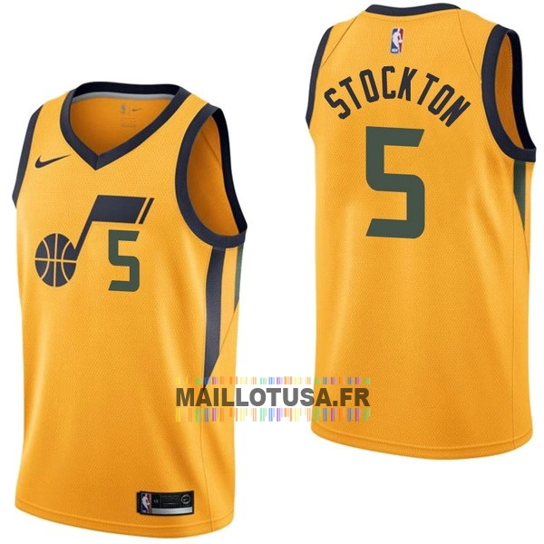 Maillot NBA Pas Cher - Maillot NBA Nike Utah Jazz NO.5 David Stockton Jaune Statement