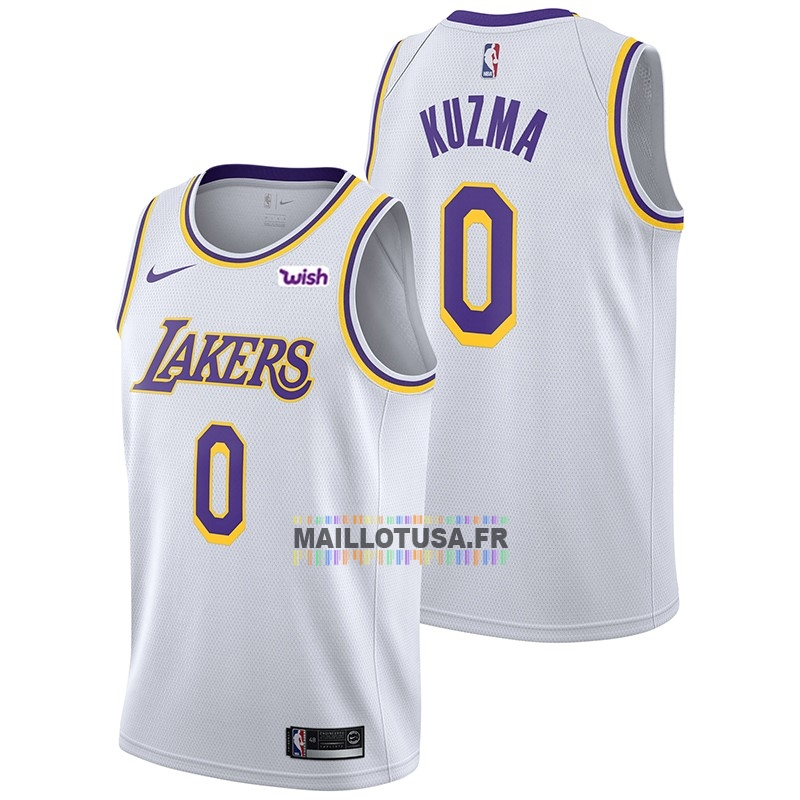 Maillot NBA Pas Cher - Maillot NBA Nike Los Angeles Lakers NO.0 Kyle Kuzma Blanc 2018-19