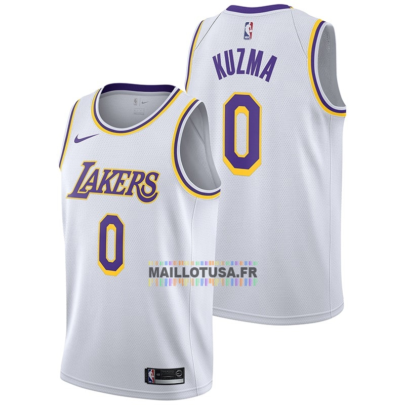 Maillot NBA Pas Cher - Maillot NBA Nike Los Angeles Lakers NO.0 Kyle Kuzma Blanc Association 2018-19