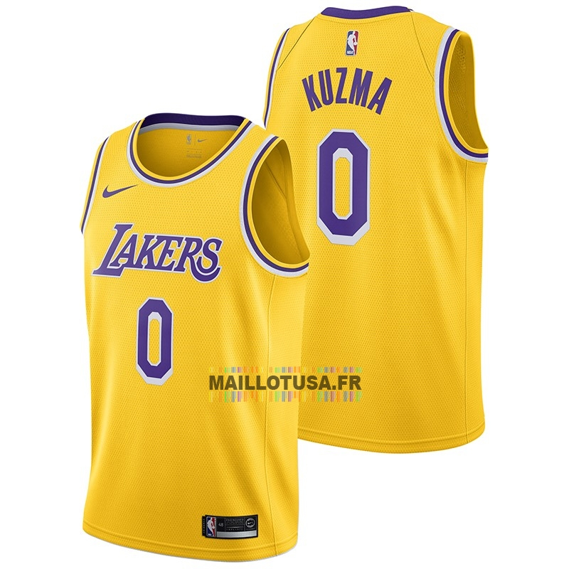 Maillot NBA Pas Cher - Maillot NBA Nike Los Angeles Lakers NO.0 Kyle Kuzma Jaune Icon 2018-19