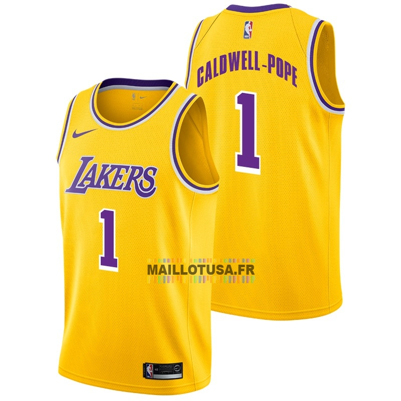 Maillot NBA Pas Cher - Maillot NBA Nike Los Angeles Lakers NO.1 Kentavious Caldwell Pope Jaune Icon 2018-19