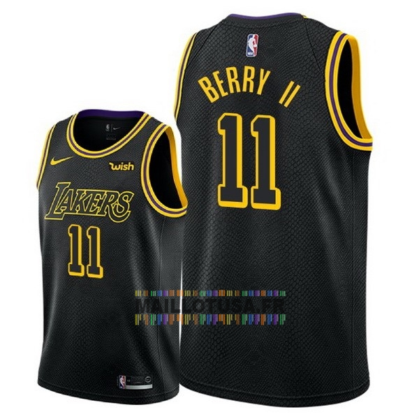 Maillot NBA Pas Cher - Maillot NBA Nike Los Angeles Lakers NO.11 Joel Berry II Noir Ville 2018