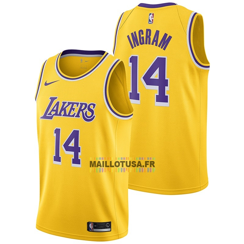 Maillot NBA Pas Cher - Maillot NBA Nike Los Angeles Lakers NO.14 Brandon Ingram Jaune Icon 2018-19