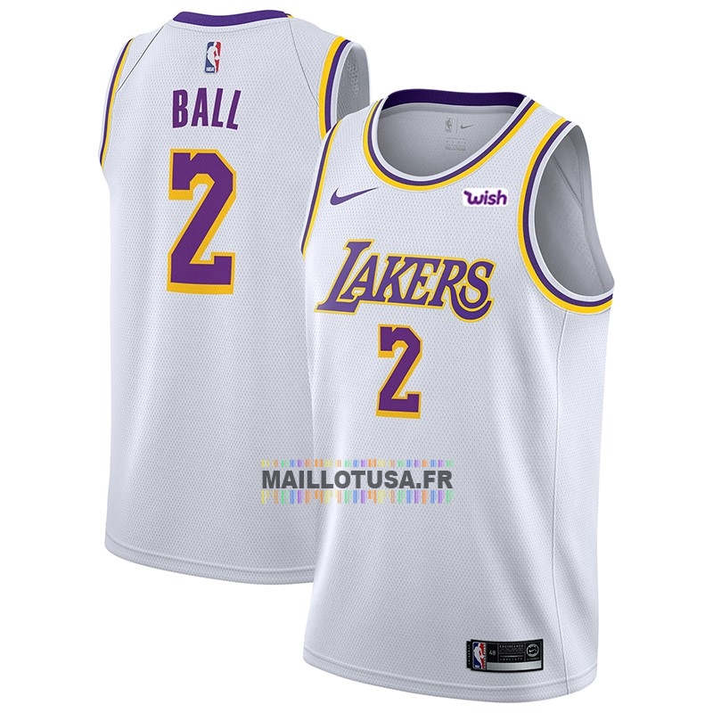 Maillot NBA Pas Cher - Maillot NBA Nike Los Angeles Lakers NO.2 Lonzo Ball Blanc 2018-19