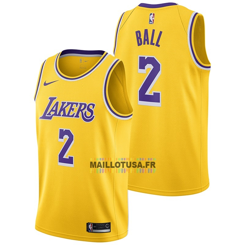 Maillot NBA Pas Cher - Maillot NBA Nike Los Angeles Lakers NO.2 Lonzo Ball Jaune Icon 2018-19
