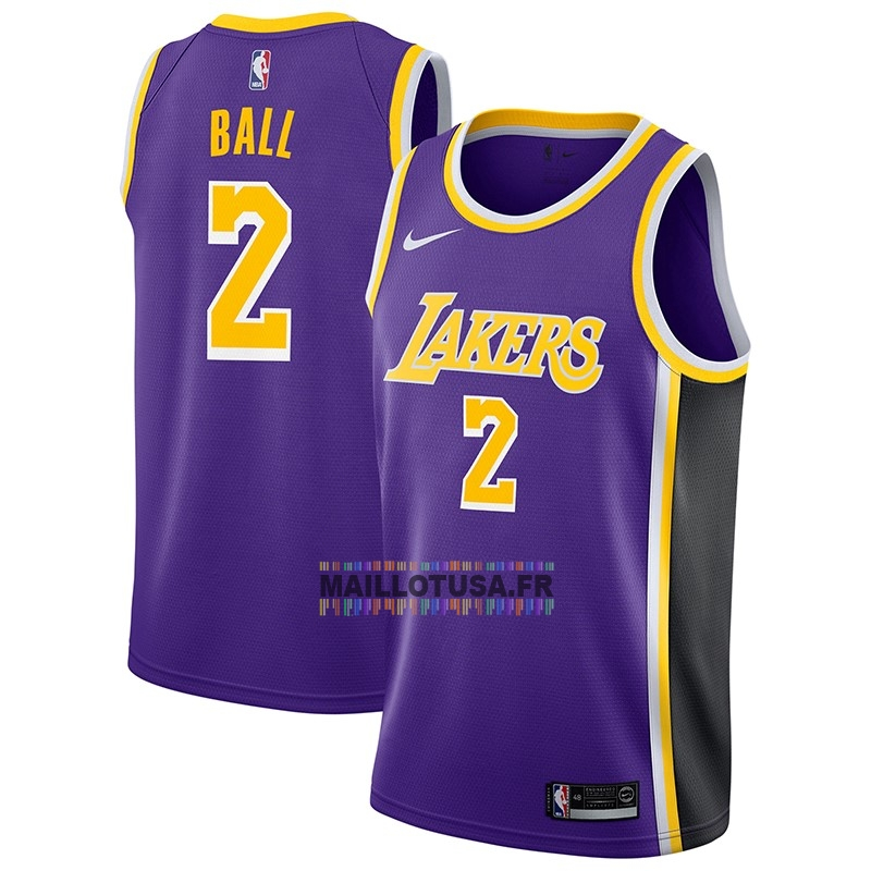 Maillot NBA Pas Cher - Maillot NBA Nike Los Angeles Lakers NO.2 Lonzo Ball Pourpre Statement 2018-19