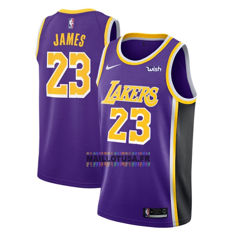 Maillot NBA Pas Cher - Maillot NBA Nike Los Angeles Lakers NO.23 Lebron James Pourpre 2018-19