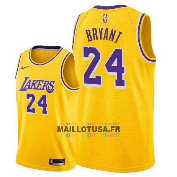 Maillot NBA Pas Cher - Maillot NBA Nike Los Angeles Lakers NO.24 Kobe Bryant Jaune Icon 2018-19