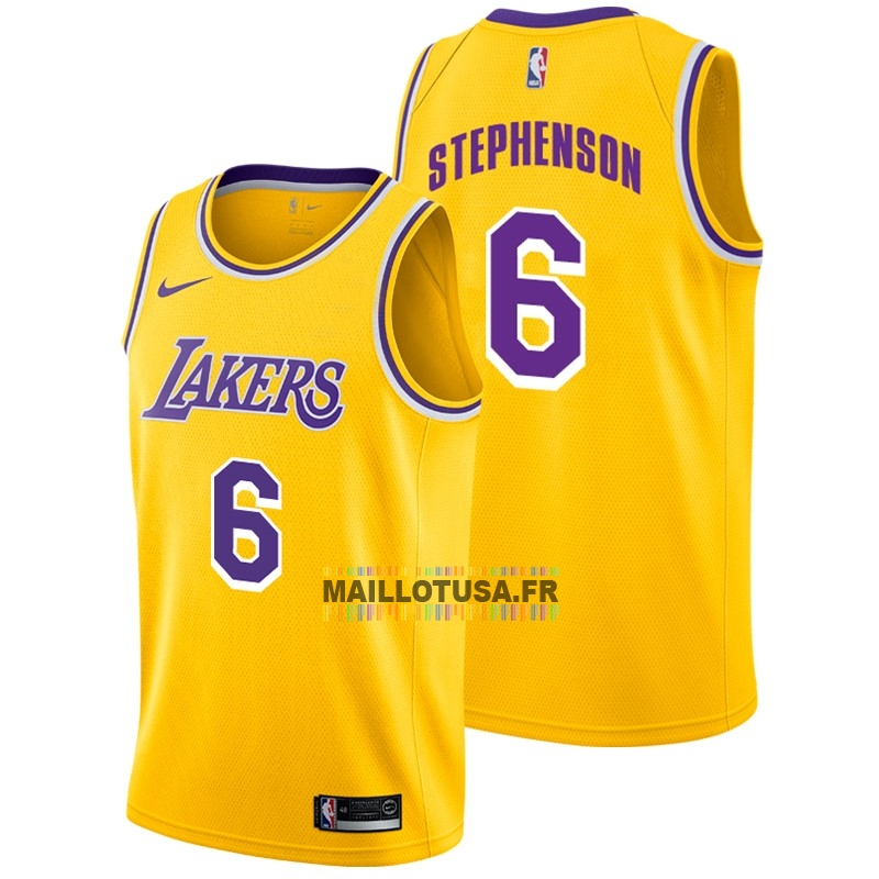 Maillot NBA Pas Cher - Maillot NBA Nike Los Angeles Lakers NO.6 Lance Stephenson Jaune Icon 2018-19