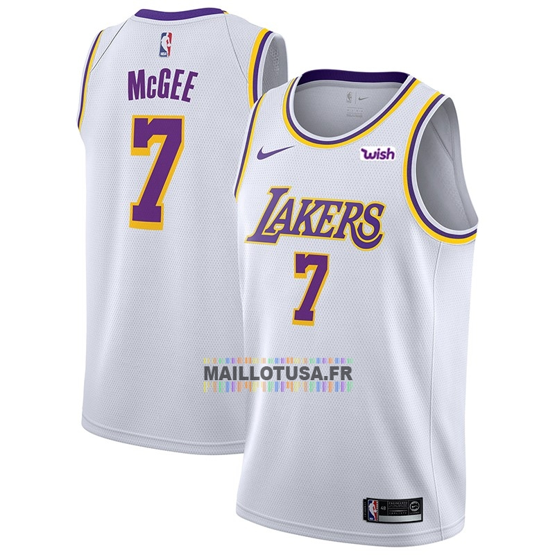 Maillot NBA Pas Cher - Maillot NBA Nike Los Angeles Lakers NO.7 JaVale McGee Blanc 2018-19