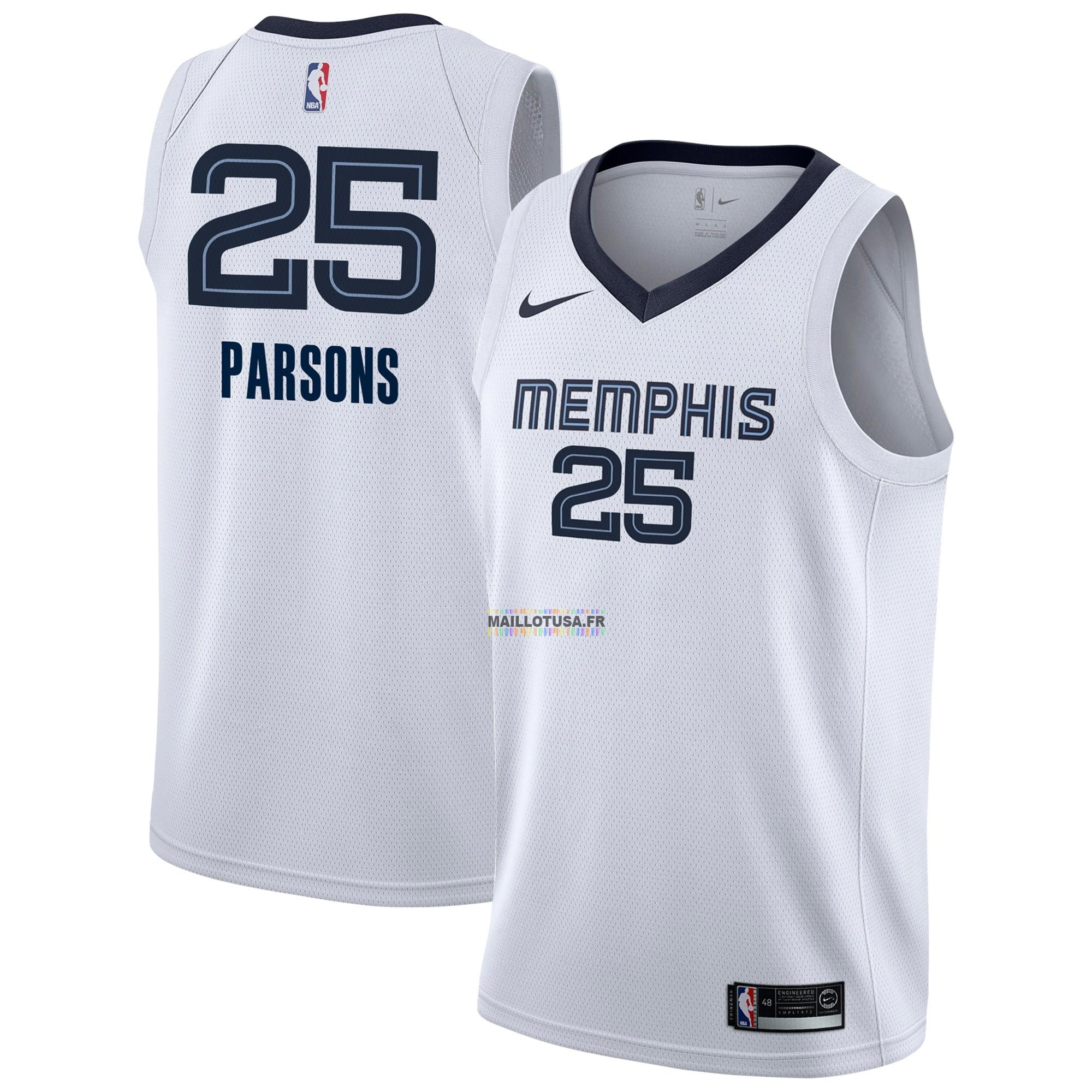 Maillot NBA Pas Cher - Maillot NBA Nike Memphis Grizzlies NO.25 Chandler Parsons Blanc Association 2018-19