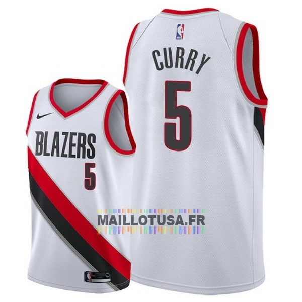 Maillot NBA Pas Cher - Maillot NBA Nike Portland Trail Blazers NO.5 Seth Curry Blanc Association 2018