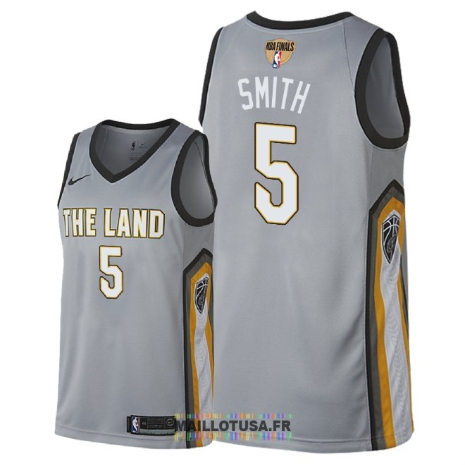 Maillot NBA Cleveland Cavaliers 2018 Final Champions NO.5 JR. Smith Nike Gris Ville Patch